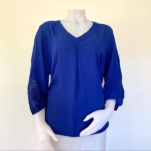 Elmar embroidered cutout royal cobalt blue blouse